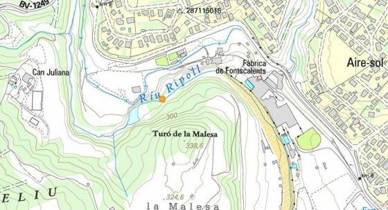 El punt groc indica la situació de la Font del Pi_01