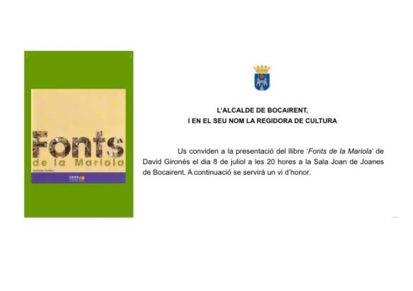 Invitació a l'acta de la presentació del Llibre